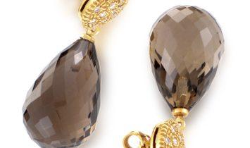 evaNueva evaNueva Women's 18K Yellow Gold Diamond & Smoky Quartz Earrings