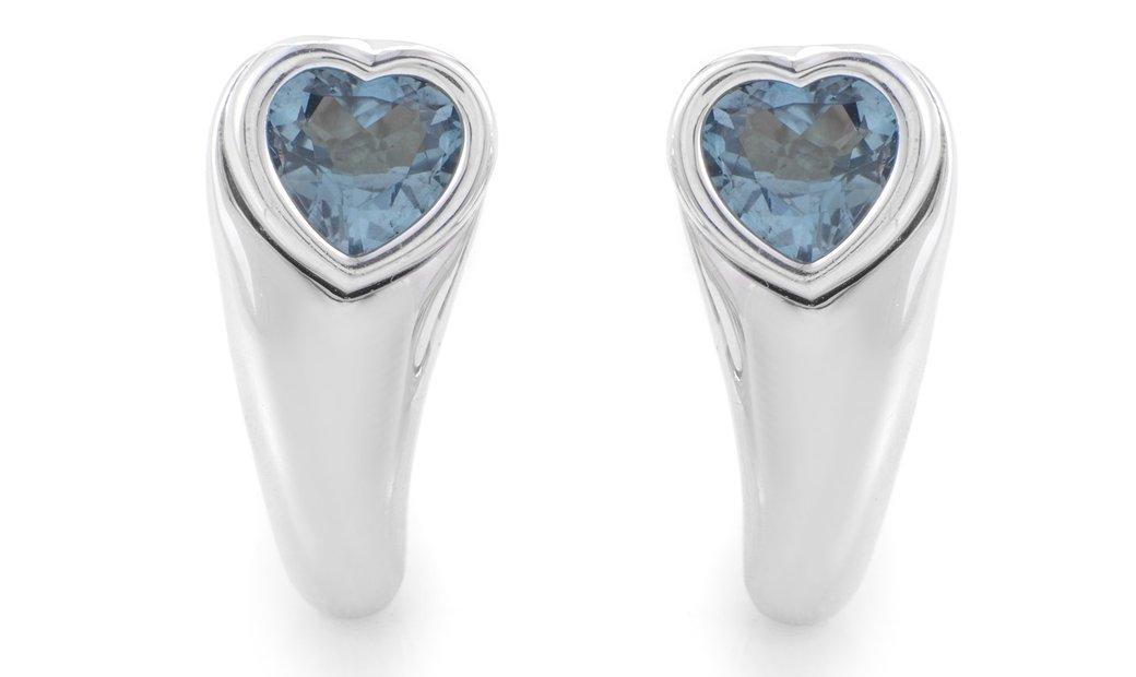 Piaget Piaget Women's 18K White Gold Topaz Heart Earrings