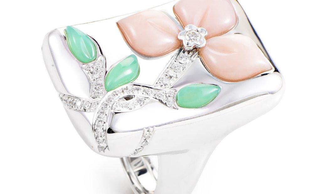 Oro Trend Oro Trend 18K White Gold Multi-Gem Floral Ring