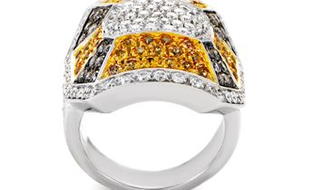 Oro Trend Oro Trend 18K White Gold Diamond & Yellow Sapphire Ring