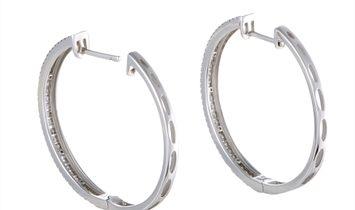 LB Exclusive LB Exclusive 14K White Gold 3-Row 1.06 Carat VS1 G Color Diamond Hoop Earrings