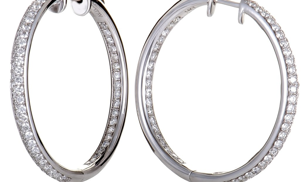 LB Exclusive 2.10ct 14K White Gold Full Diamond Pave Round Hoop Earrings