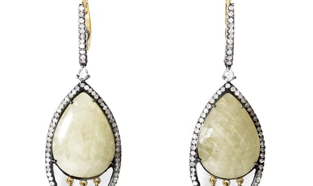 LB Exclusive LB Exclusive 18K Gold & Stainless Steel Yellow Sapphire Diamond Earrings ER3860