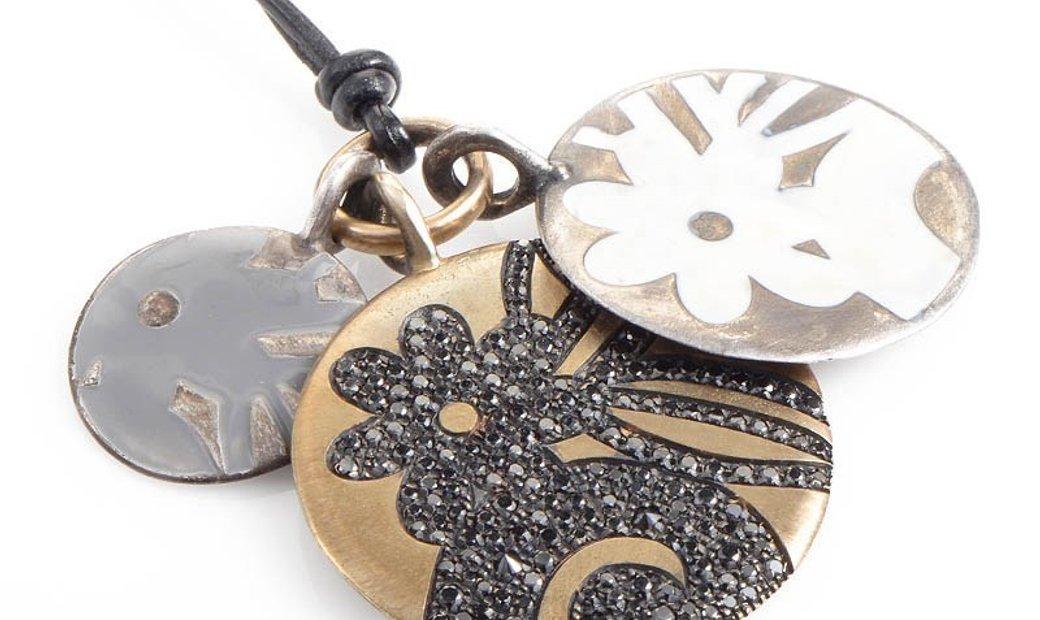 Preziosismi Preziosismi 18K Yellow Gold and Silver Diamond Pendants Necklace