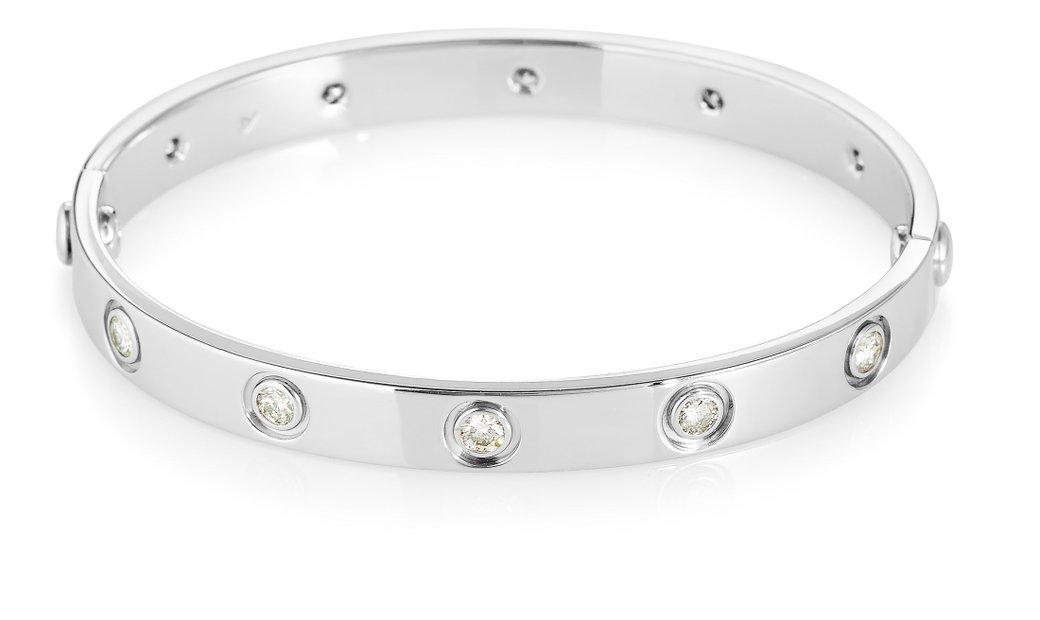 Cartier Cartier LOVE 18K White Gold 10 Diamond Bracelet Size 16