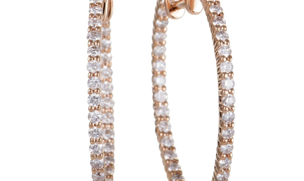 LB Exclusive LB Exclusive 14K Rose Gold 1.00 Carat VS1 G Color Diamond Pave Inside Out Hoop Earrings