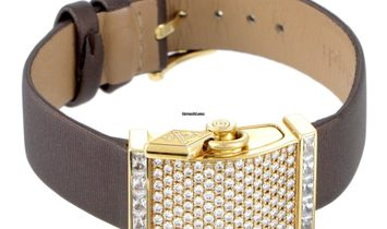Van Cleef & Arpels Secret Pavé 18K Yellow Gold Diamond Watch HH310