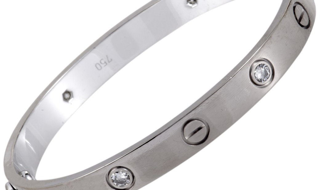 Cartier Cartier LOVE 18K White Gold 4 Diamond Bracelet Size 16