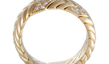 Bvlgari Bvlgari Spiga 18K Yellow Gold 0.50 ct Diamond Pave Band Ring