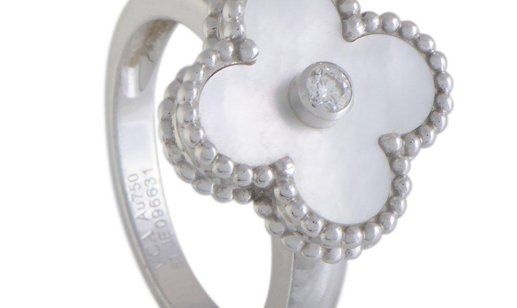 Van Cleef & Arpels Van Cleef & Arpels Vintage Alhambra 18K White Gold Diamond and Mother of Pearl Ri