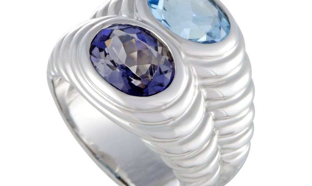 Bvlgari Bvlgari Doppio 18K White Gold Topaz and Iolite Double Ring