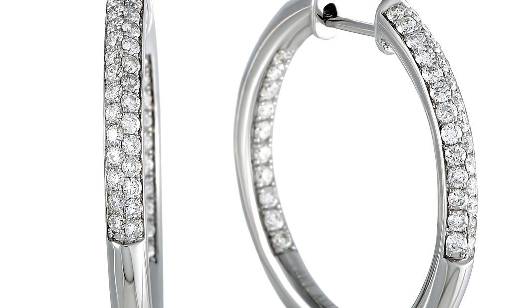 LB Exclusive LB Exclusive 1ct 14K White Gold Full Diamond Pave Hoop Earrings