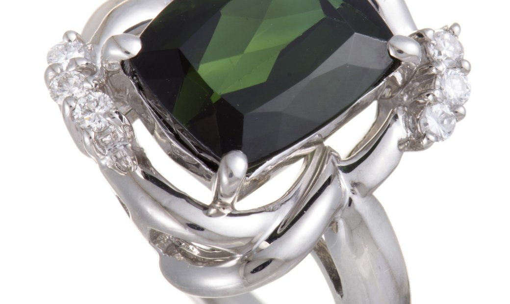 Non Branded Platinum Diamond and Green Tourmaline Rectangle Ring