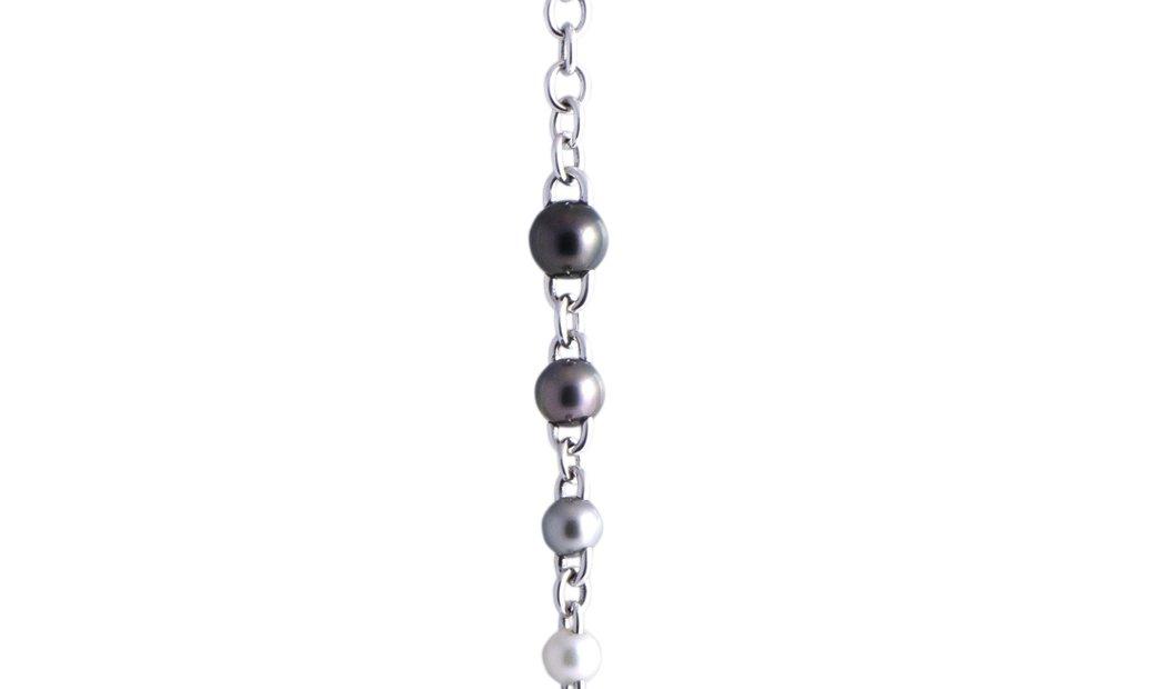 Mikimoto Mikimoto 18K White Gold Diamond and 8.0-12.0mm Black and White Pearls Drop Pendant Choker N