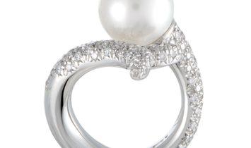 Mikimoto Mikimoto 18K White Gold Diamond and 11.0-12.0mm White Pearl Bypass Ring