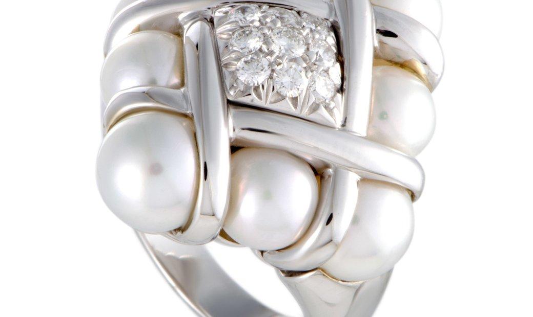 Mikimoto Mikimoto 18K White Gold Diamonds and 6.0-7.5mm 8 Akoya Pearls Ring