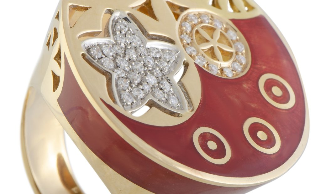Nouvelle Bague Nouvelle Bague India Preziosa 18K Rose and White Gold Diamond Pave and Sienna Enamel