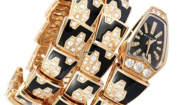 Bulgari Bvlgari Serpenti in Rose Gold Onyx & Diamond 2 Twirl Quartz Watch SPP26BGD1GBLD1.2T