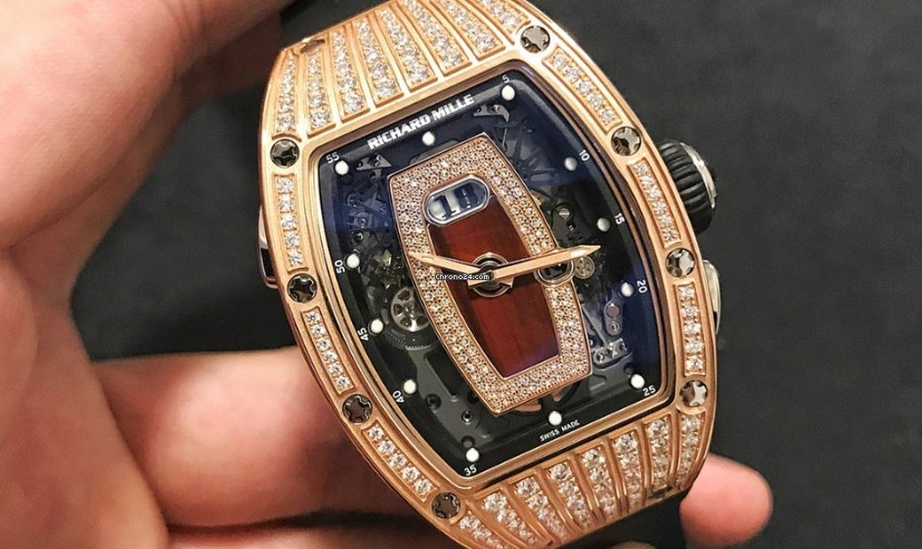 Richard Mille NEW RM 037 Rose Gold Med Set Diamonds Ladies Watch