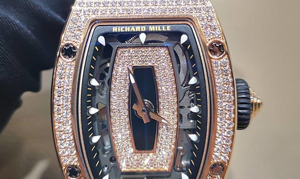 Richard Mille NEW RM 07-01 Rose Gold Full Set Diamond Black Lip Watch