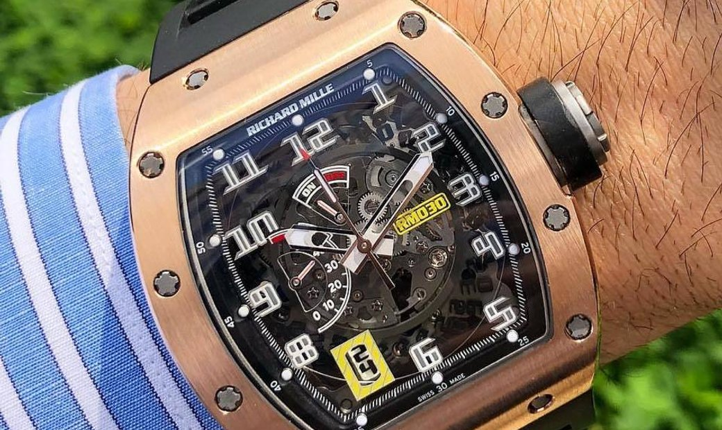 Richard Mille NEW RM 030 Rose Gold Skeleton Dial Automatic Watch