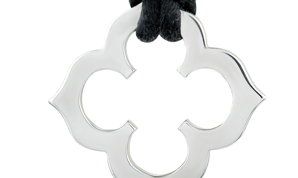 Cartier Cartier C de Cartier 18K White Gold Pendant Black Cord Necklace