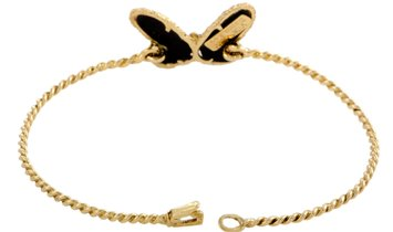Van Cleef & Arpels Van Cleef & Arpels Vintage 18K Yellow Gold 0.03 ct Diamond and Onyx Butterfly Ban