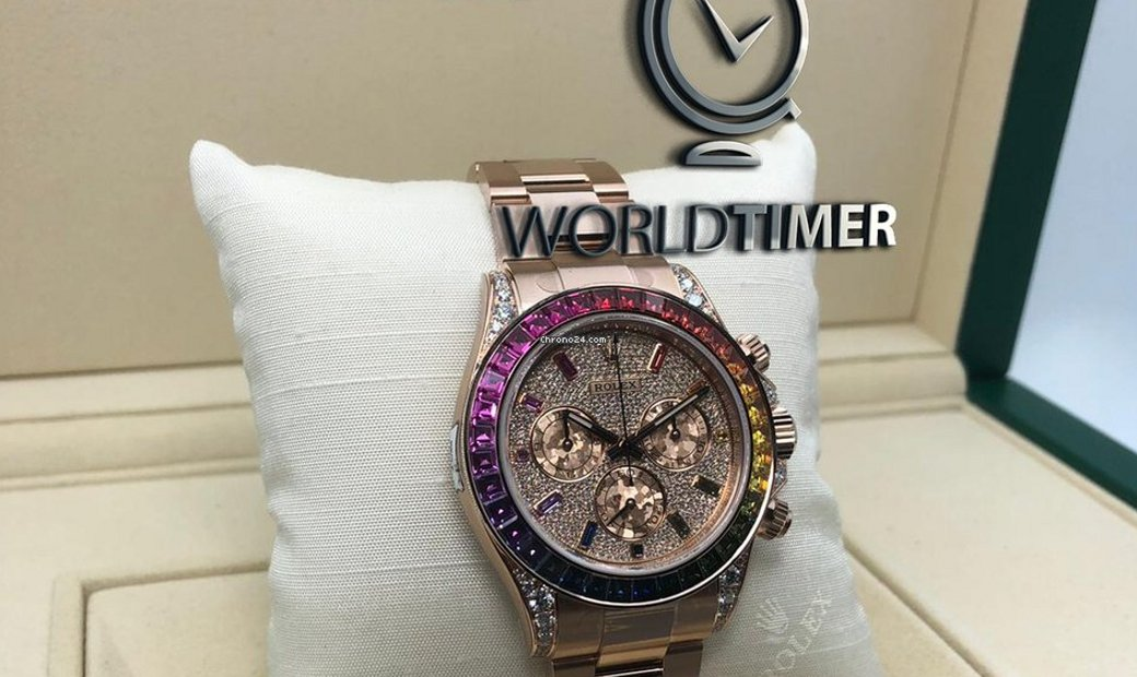 Rolex 2018 NEW MODEL 116595RBOW Daytona Rainbow Pave Diamond Watch