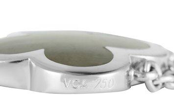 Van Cleef & Arpels Van Cleef & Arpels Pure Alhambra 18K White Gold Black Mother of Pearl Pendant Nec
