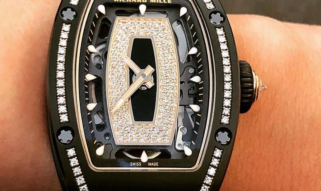 Richard Mille NEW RM 07–01 Black Ceramic Gem Set Automatic Ladies Watch