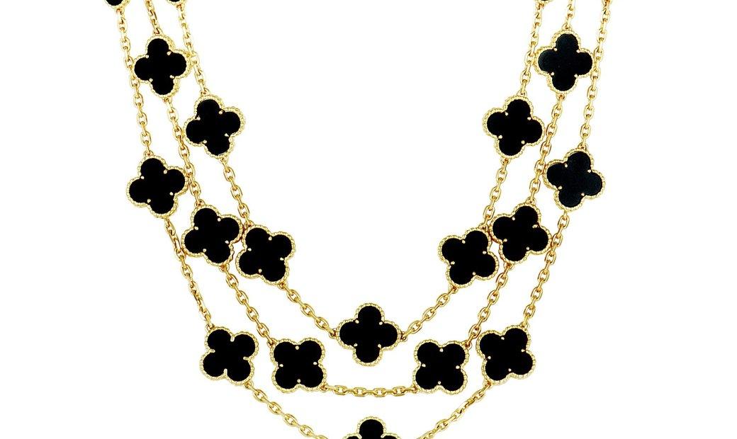 Van Cleef & Arpels Van Cleef & Arpels Limited Edition Alhambra 18K Yellow Gold 29 Motif Onyx Necklac