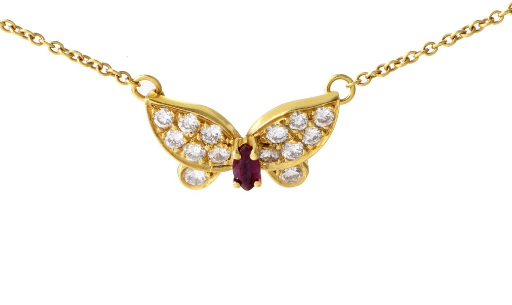 Van Cleef & Arpels Van Cleef & Arpels Yellow Gold 0.50 ct Diamond and Ruby Butterfly Pendant Necklac