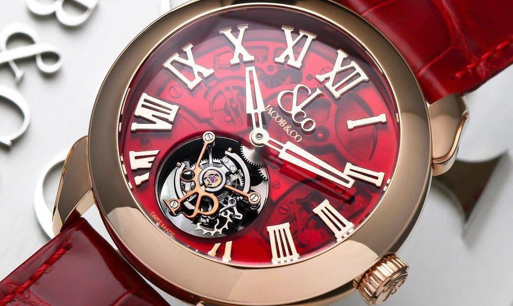 Jacob & Co. 捷克豹 [NEW] Palatial Flying Tourbillon Hours & Minutes Rose Gold Red PT520.40.NS.QR.A