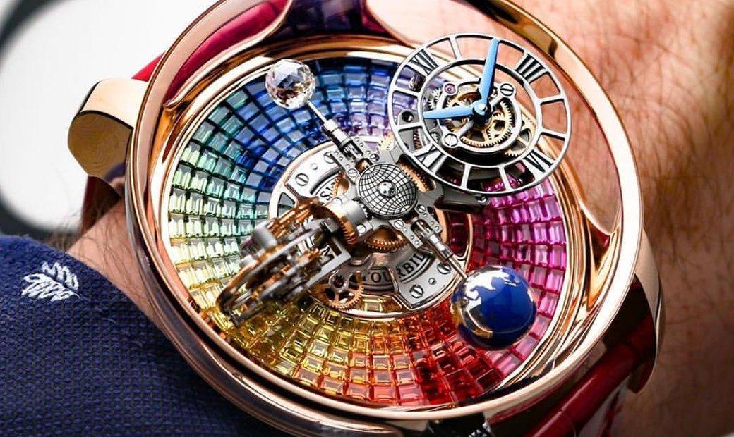 Jacob & Co. 捷克豹 [NEW] Astronomia Tourbillon Baguette Rainbow Sapphires AT800.40.BD.UD.A