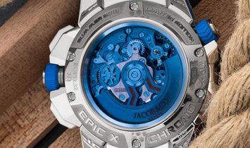 Jacob & Co. 捷克豹 NEW & LIMITED 3 PIECE EPIC-X Chrono Baguette Blu Mineral Christal Set White Gold