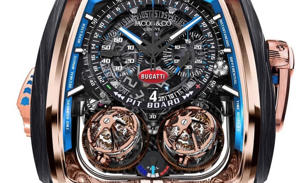 Jacob & Co. 捷克豹 [NEW MODEL] Twin Turbo Furious Bugatti Chiron Rose Gold Tourbillon Mens Watch