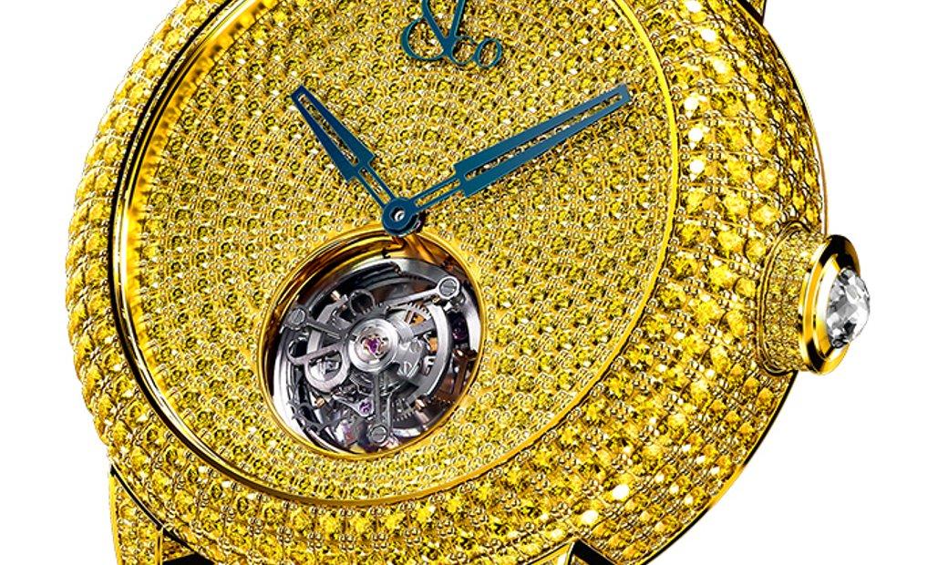 Jacob & Co. 捷克豹 NEW & UNIQUE Caviar Tourbillon Pave Yellow Diamonds CV201.50.RY.RY.A