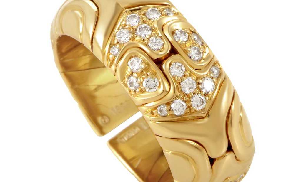 Bvlgari Bvlgari Alveare 18K Yellow Gold Diamond Band Ring