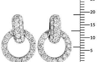 LB Exclusive LB Exclusive 18K White Gold Full Diamond Dangle Push Back Earrings