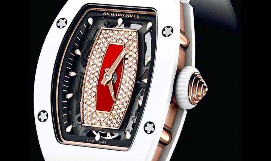 Richard Mille NEW RM 07-01 White Ceramic Red Lip Ladies Watch