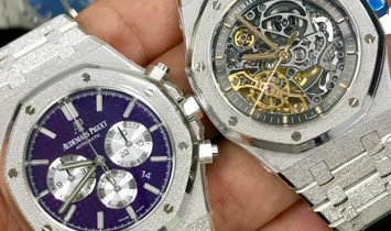 Audemars Piguet Royal Oak 41mm Double Balance Wheel Openworked Frosted White Gold 15407BC