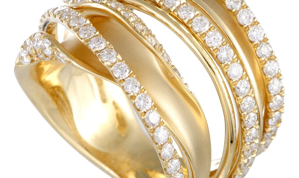 LB Exclusive LB Exclusive 18K Yellow Gold Diamond Pave Multi-Band Ring