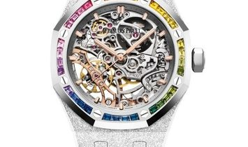 """Audemars Piguet Frosted Gold """"Snow Rainbow"""" Double Balance Wheel Openworked 15468BC"""