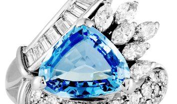 Non Branded Platinum Round, Baguette, and Marquise Diamonds and Aquamarine Trillion Ring