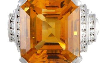 Non Branded Platinum Diamond and Large Cushion Citrine Ring