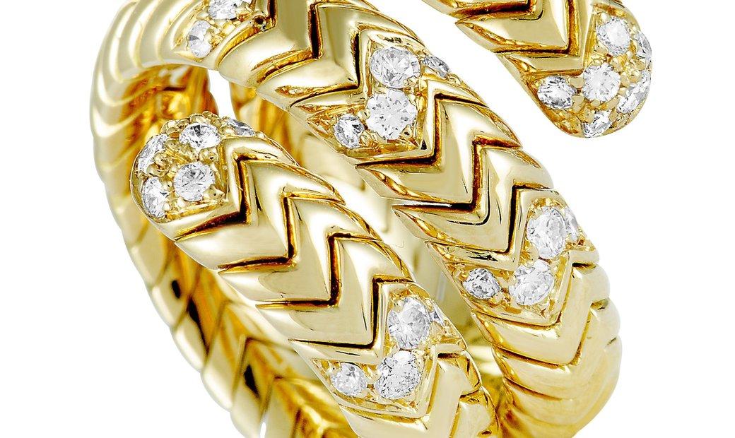 Bvlgari Bvlgari Spiga 18K Yellow Gold and 0.60 ct Diamond Band Ring