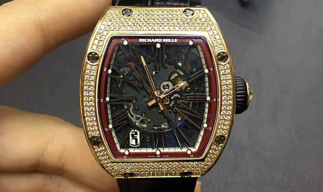 Richard Mille RM 023 Rose Gold Full Set Diamonds Mens Watch