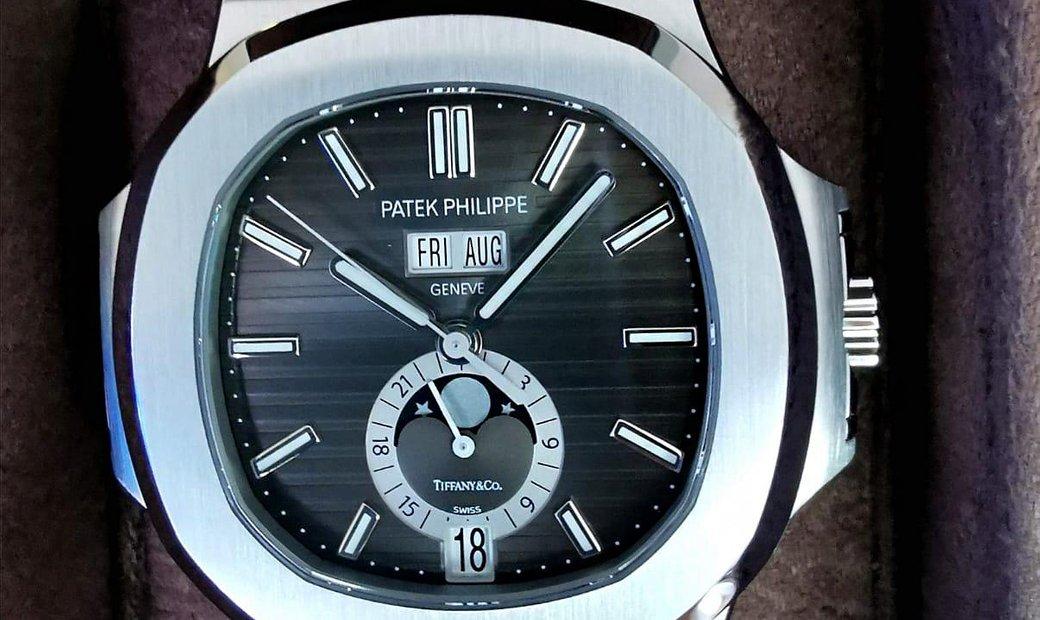 "Patek Philippe ""Tiffany & Co."" [NEW] Nautilus Annual Calendar Moonphase Black Dial 5726A"