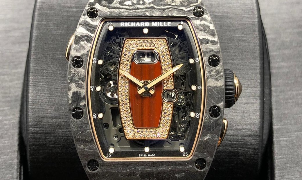 Richard Mille [NEW] RM 037 NTPT Carbon Ladies Automatic Rose Gold Red Lip Watch