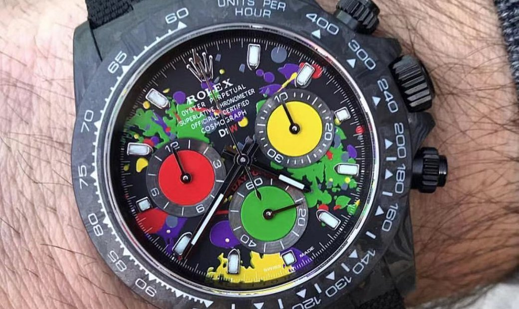Rolex DiW Daytona Carbon NTPT MOTLEY Unique Version Multi-Color Dial & Counter Watch